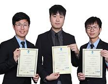 (left to right) Ng Weng Mun, Chong Ying Hai and Ngo Kah Lock win the Best Solar Car Award.